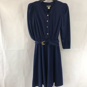 Vintage Tabby of California Blue Belted Dress
